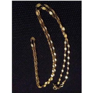 Evine 14K Yellow Gold Ingraved Oval Links Chain 18